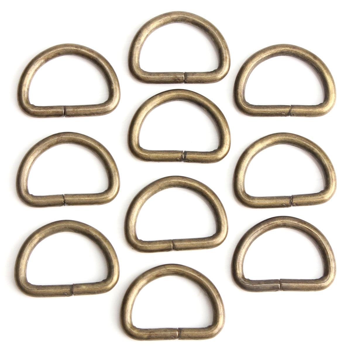 10Pcs 15mm Metal D Shaped Ring Buckle for Webbing Hand Bag,Cinnamon