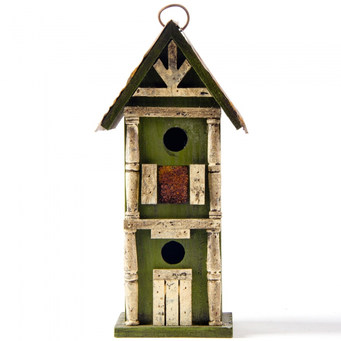 """Glitzhome 12.8""""H Hanging Tall Two-Tiered Hand Painted Wood Birdhouse"""