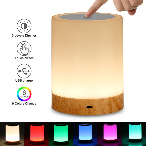 Led Touch Control Table Lamp Bedside Night Light 3 Levels Dimmer Touch Desk Lamp Modern Nightstand Lamp Night Light For Bedroom Living Room Office Walmart Com Walmart Com