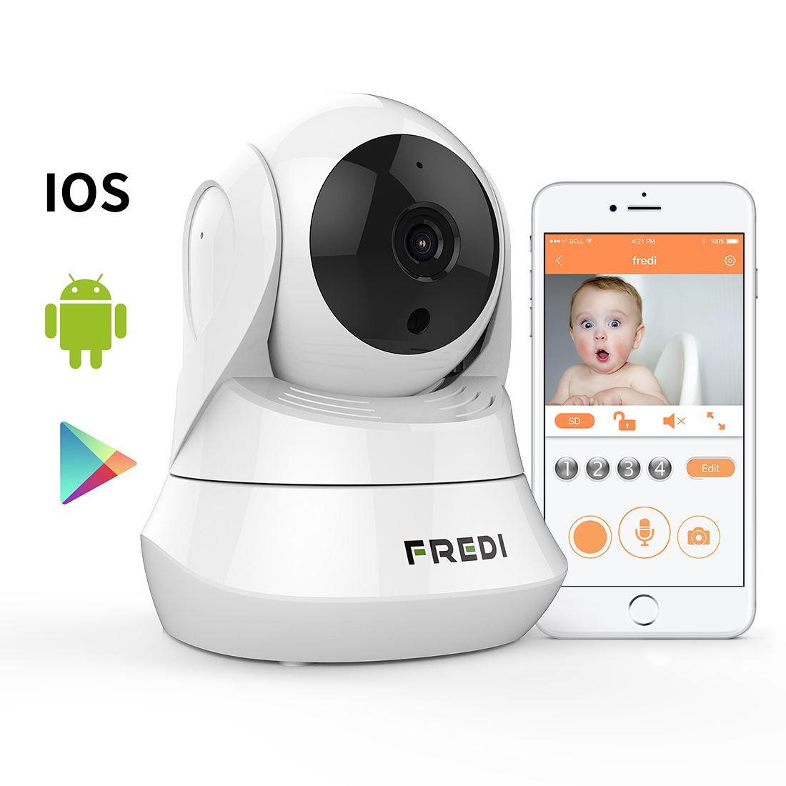 FREDI Day Night Vision WiFi Camera with Remote Viewing In...