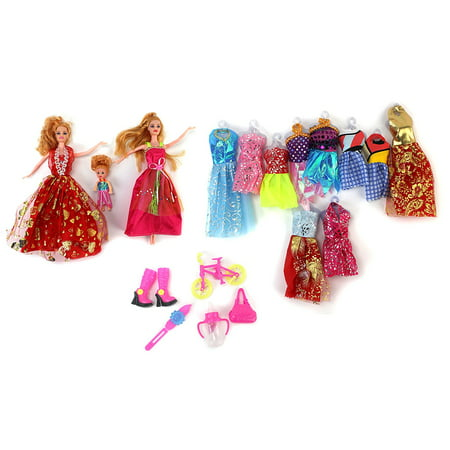 Princess Happy Time Fashion Kid's Toy Doll Playset w/ 3 Dolls, 10 Different Outfits, & Accessories](Deadpool Different Outfits)