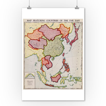 East Asia - Panoramic Map (9x12 Art Print, Wall Decor Travel Poster)
