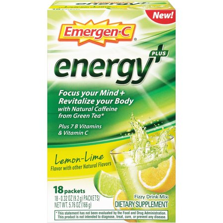 Emergen-C Energy Plus Lemon Lime Fizzy Drink Mix, 18 Packets each
