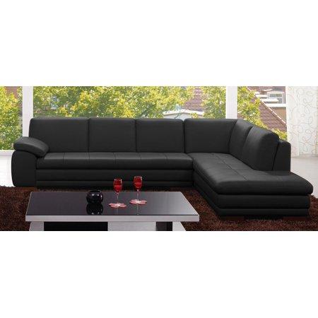J&M 625 Premium Black Top Grain Italian Leather Upholstery Sectional Sofa  Left
