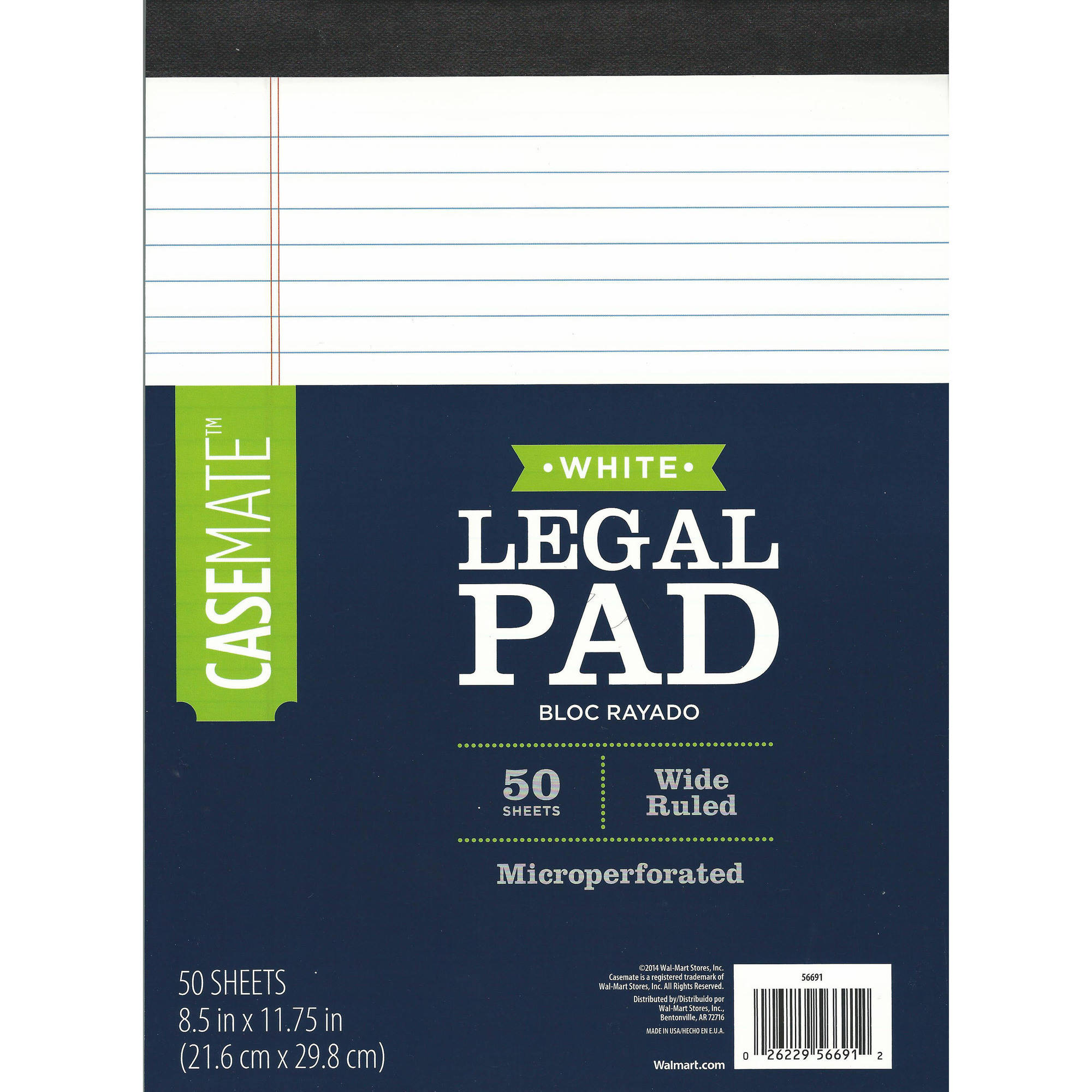 Pen+Gear Canary Legal Pad, White, 8.5 in x 11.75 in, 50 Sheet