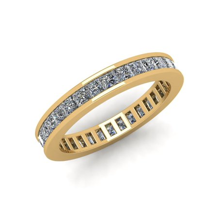 Princess Cut Diamond Channel Band - Natural 1.85Ct Princess Cut Diamond Classic Channel Set Women's Anniversary Wedding Eternity Band Ring Solid 10k Yellow Gold G-H I1