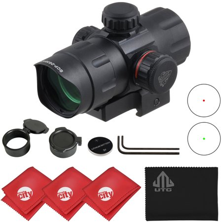 UTG 4.2in 5th Gen ITA Red/Green CQB Dot Sight with QD Mount + Riser + Microfibers