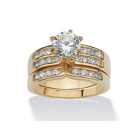 Two Tone Bridal Sets (2.89 TCW 2 Piece Round Cubic Zirconia Bridal Ring Set in Yellow Gold Tone)