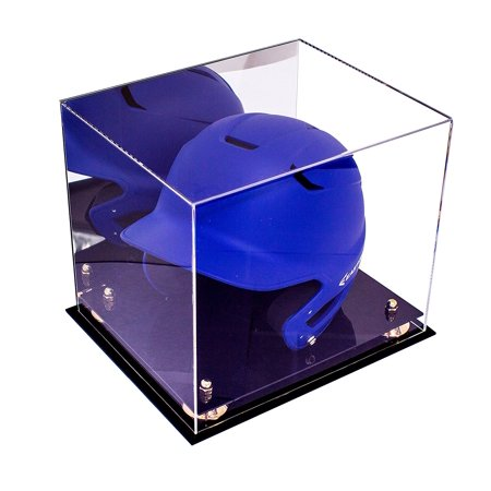 Deluxe Acrylic Baseball Batting Helmet Display Case with Gold Risers and Mirror (A012-GR) ()