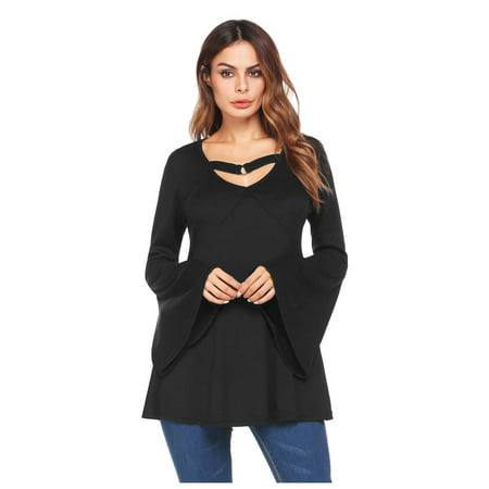 Women V-Neck Flare Sleeve Cut Out Front Solid Casual Loose Tunic Top HITC Casual Solid Cut Out