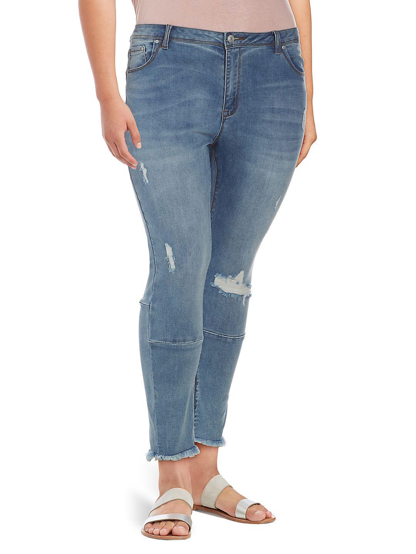 Allure Slim-Fit Frayed Hem Jeans