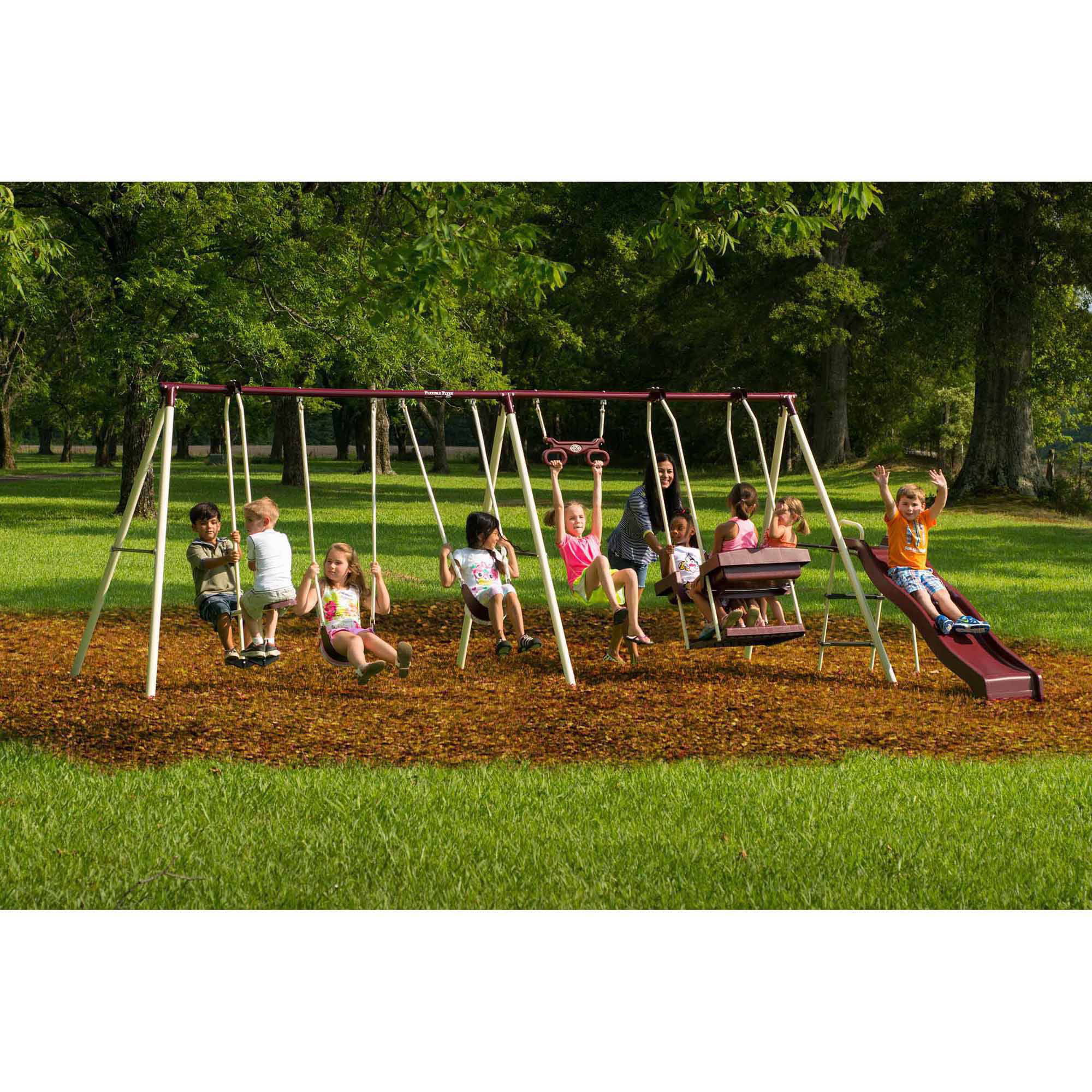 Flexible Flyer Play Park Metal Swing Set - Walmart.com ...