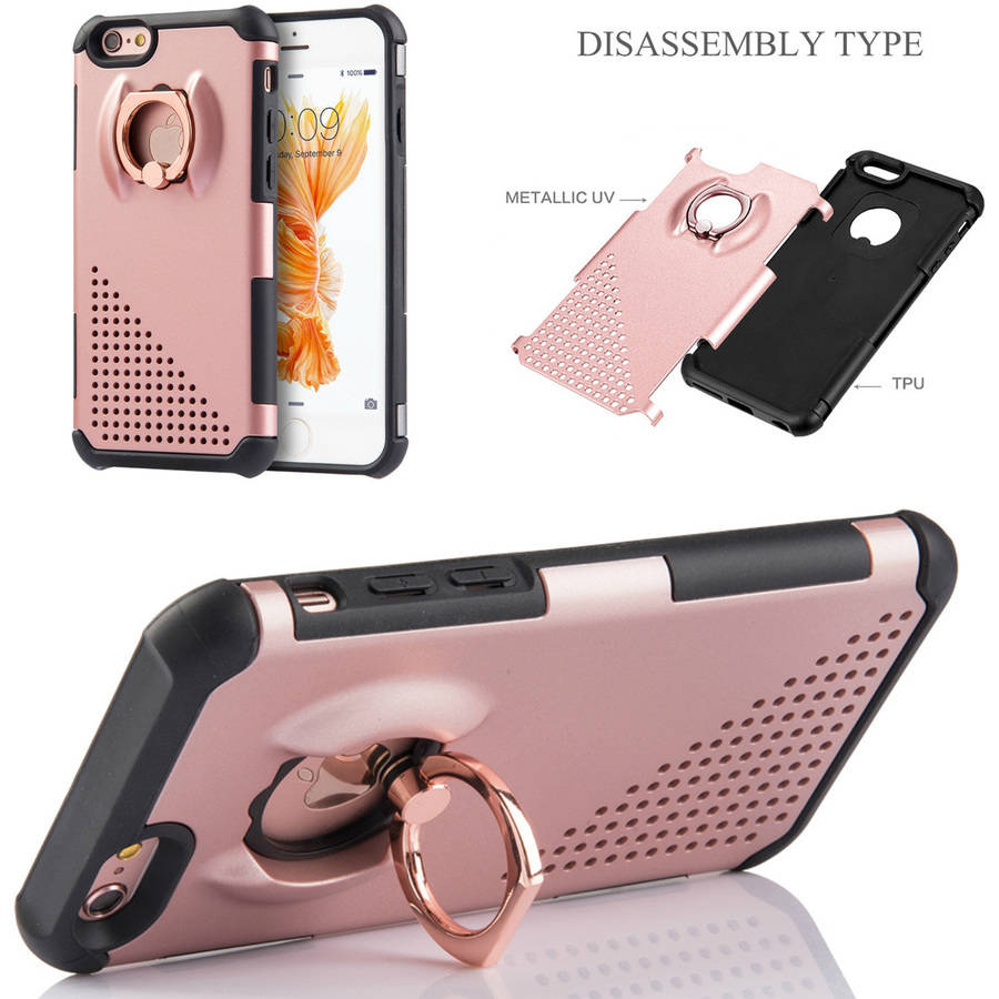 Mundaze Apple iPhone 6 Plus/6S Plus Perforated Double Layered Phone Case with Ring Holder Kickstand, Rose Gold/Black