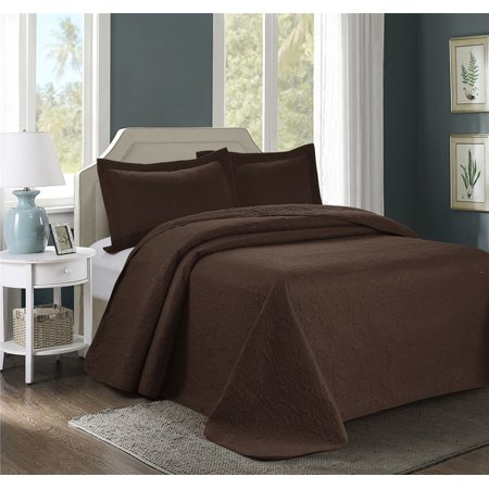 Unique Home JULES Bedspread 3 Piece Loosely Set Ultrasonic Embossed Clearance bedding Quilted Bedspreads Set 100x106in (Queen, Chocolate) ()