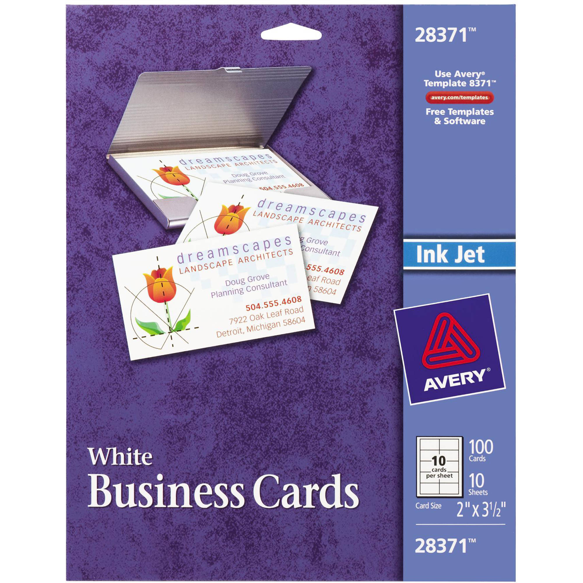 Avery(R) Matte Business Cards for Inkjet Printers 28371, Pack of 100 ...