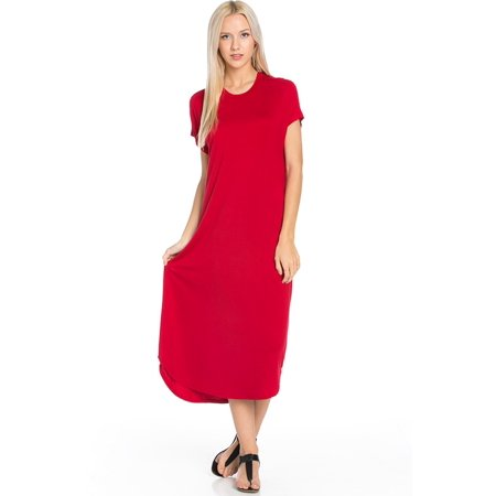 e3d74d002a8f SASSY APPAREL - Sassy Apparel Womens Lounging to Casual Soft Comfortable  Elastic Loose Fit Flowy Round Neck Short Sleeve Solid Color Tunic Long  Fashion ...