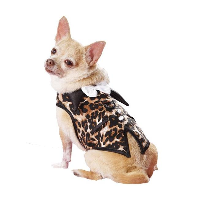 Hollywood Poochie HP504 Doggie Leo Print Tuxedo Vest Harness Fully Lined, Leopard - Medium