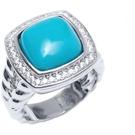 CZ and Turquoise 18kt White Gold-Tone Square Ring