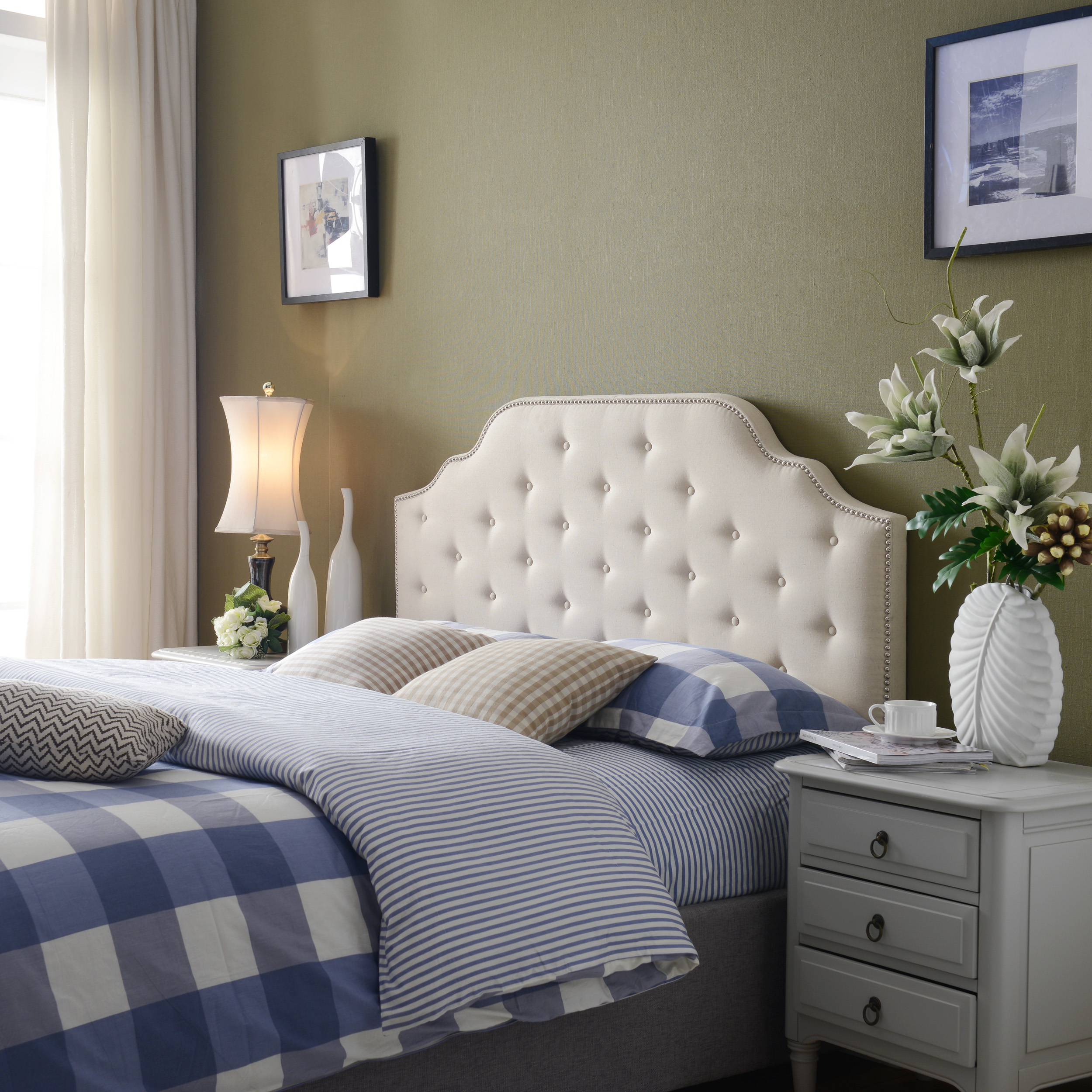 Noble House Samson Beige Fabric Queen/Full Headboard