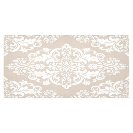 MYPOP Elegant Damask Cotton Linen Tablecloth 60x120 Inches, Floral Design Desk Sofa Table Cloth Cover for Party Decor Home Decoration (Home Decorations For Table)