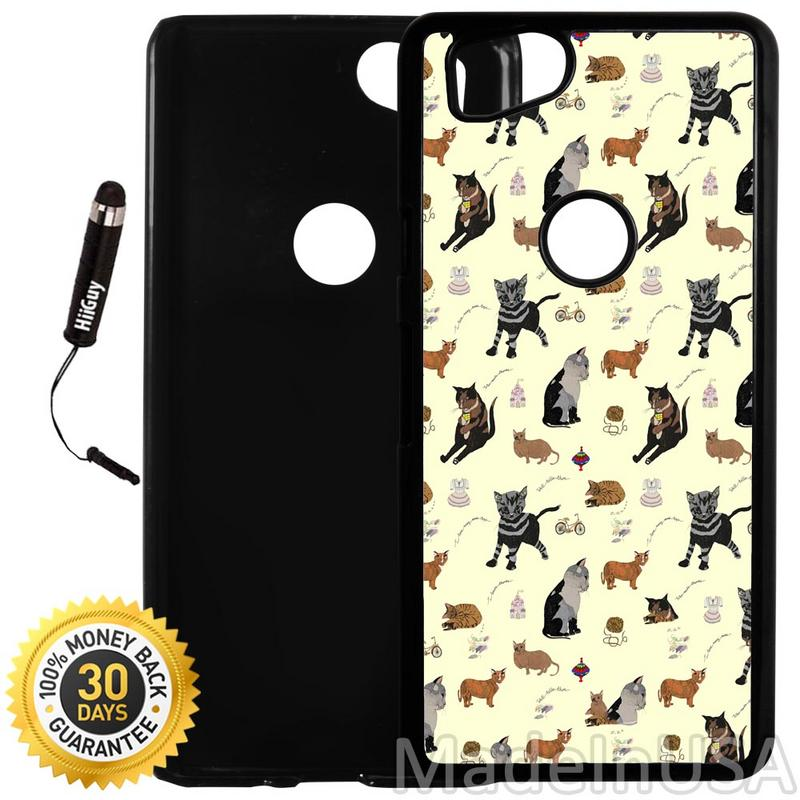 Custom Google Pixel 2 Case (Cat Design Pattern) Plastic Black Cover Ultra Slim | Lightweight | Includes Stylus Pen by Innosub