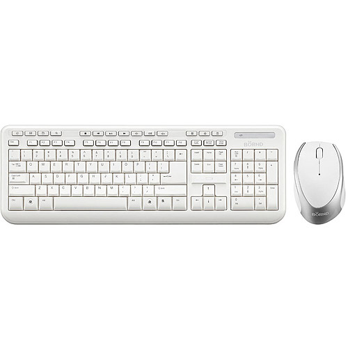 Bornd Wireless Keyboard and Mouse Combo Set, White