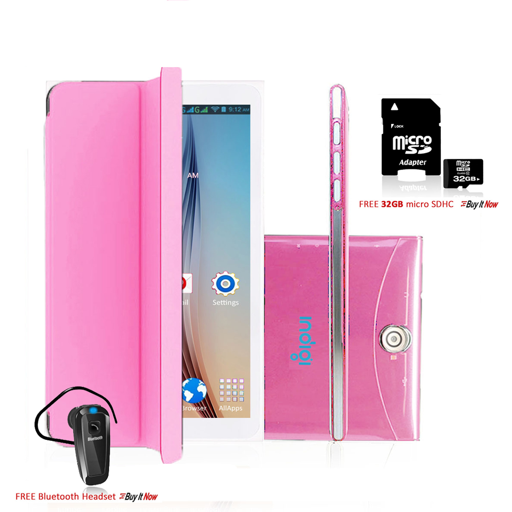 "Indigi® 7"" 3G Factory Unlocked 2-in-1 Android 4.4 SmartPhone & TabletPC w/ Built-in Cover + Bundle Included (Pink)"
