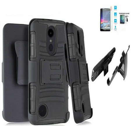Phone Case for Straight Talk LG Rebel 4 (Tracfone)/ AT&T Prepaid Phoenix 4 Case / Aristo 3 Case / LG Tribute Empire Holster Belt Clip + Rugged Cover Stand (Holster Black Edge Case / Tempered Glass)