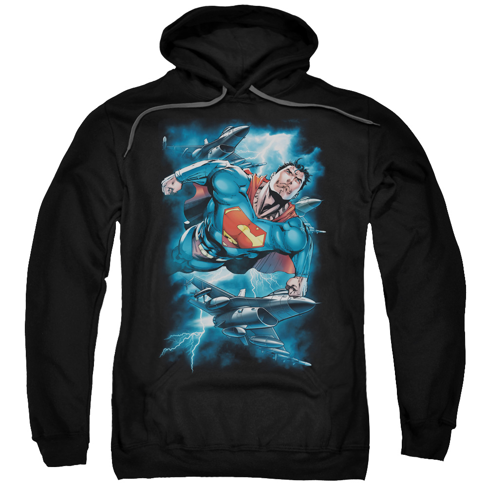 Superman DC Comics Stormy Flight Fighter Jets Adult Pull-Over Hoodie