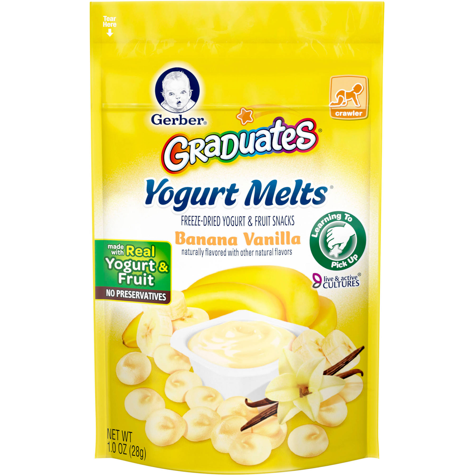 Gerber Graduates Yogurt Melts Freeze-Dried Yogurt & Fruit Snacks, Banana Vanilla, Naturally Flavored with Other Natural Flavors, 1 Ounce, 1 Count