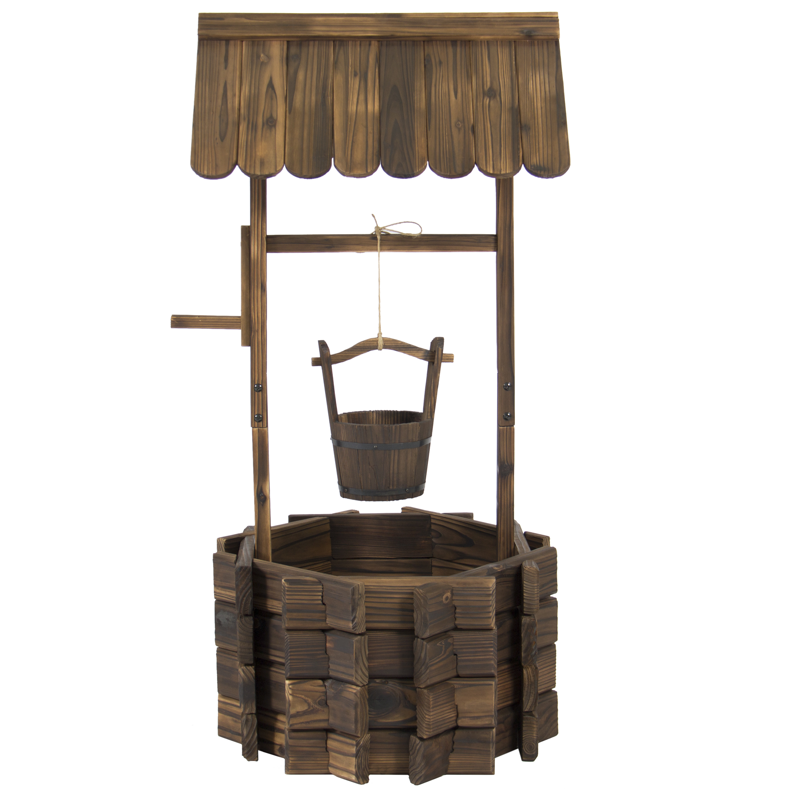 Best Choice Products Wooden Wishing Well Bucket Planter Walmart Com