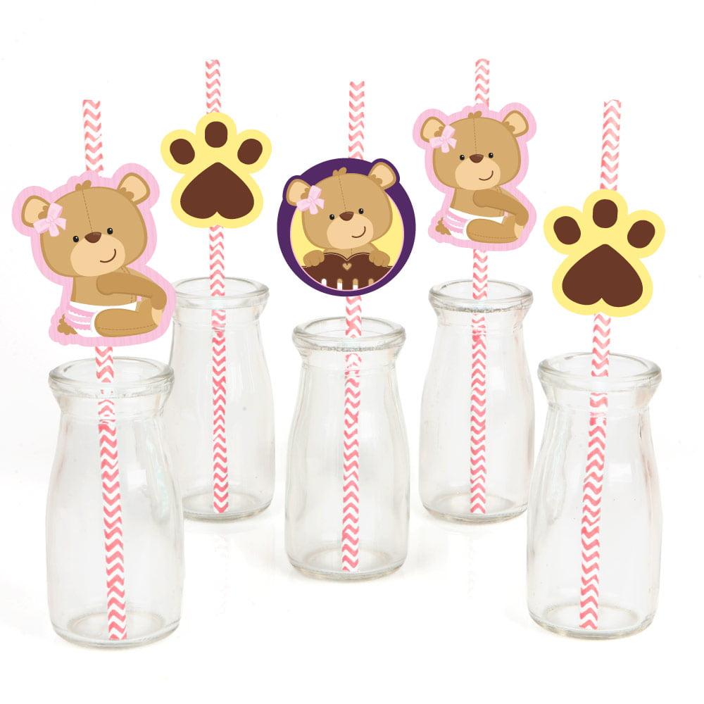 Baby Girl Teddy Bear - Paper Straw Decor - Baby Shower  Striped Decorative Straws - Set of 24