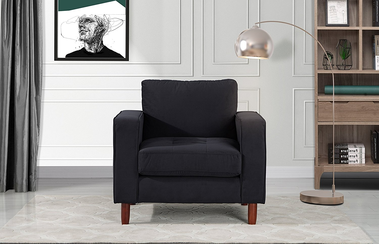 Mid Century Modern Tufted Velvet Armchair, Living Room Chair (Navy) by Divano Roma Furniture