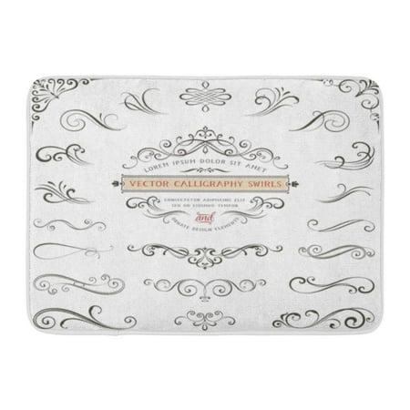 GODPOK Curl Wedding Calligraphy Swirls Swashes Ornate Motifs and Scrolls Flourish Corner Rug Doormat Bath Mat 23.6x15.7 inch
