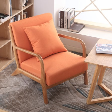 Hommoo Mid-Century Retro Accent Chairs, Modern Fabric Upholstered Wooden Lounge Armchair for Living Room Bedroom Reception Apartment Dorms,