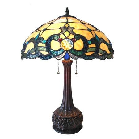 Chloe Tiffany Style Victorian Design 2-light Antique Bronze Table Lamp Brown - Glass/Art Glass
