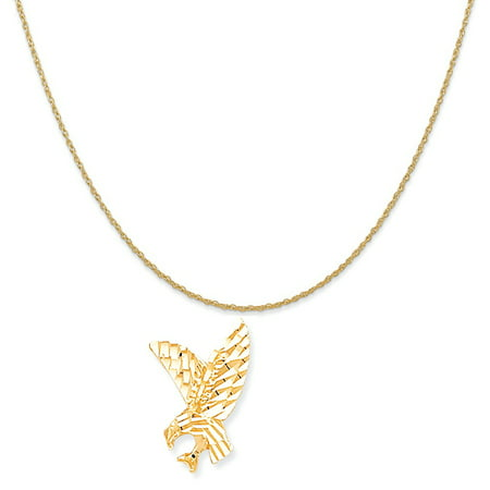 """10k Yellow Gold Eagle Charm on a 14K Yellow Gold Rope Chain Necklace, 20"""""""