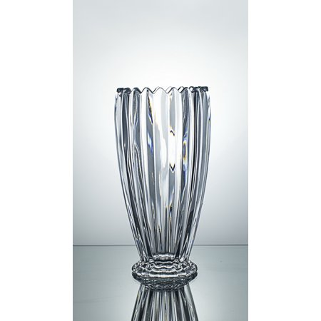 CrystalHouz Lead Free Crystal Vase, Jeneva Style, Ultra Clarity, Large and Tall, 14.2cm diameter x 28cm Height
