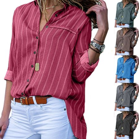 Women Casual Loose Long Sleeve Striped Shirt Office V-neck Chiffon -