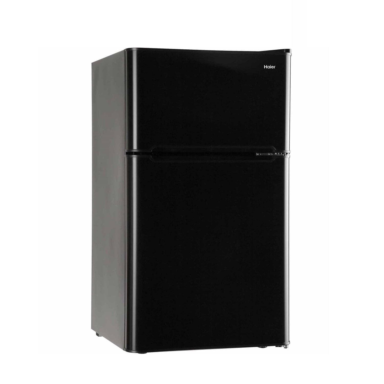 Haier 3.2 Cu Ft Two Door Refrigerator with Freezer HC32TW10SV, Black