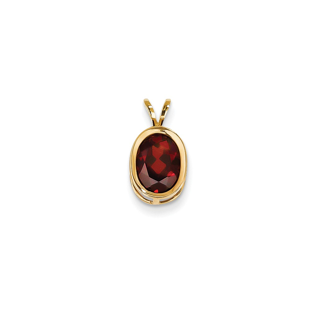 14k Yellow Gold 9x7mm Oval Garnet bezel pendant. Gem Wt- 2.2ct