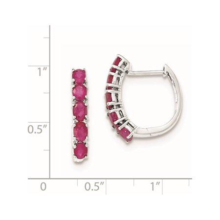 925 Sterling Silver Rhodium-plated Polished Ruby Hinged Hoop (18x20mm) Earrings - image 1 of 2