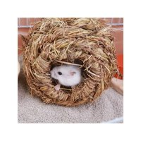 Topumt Pet Durable Woven Bed House for Hamster Rabbit Guinea Pig Grass Yellow