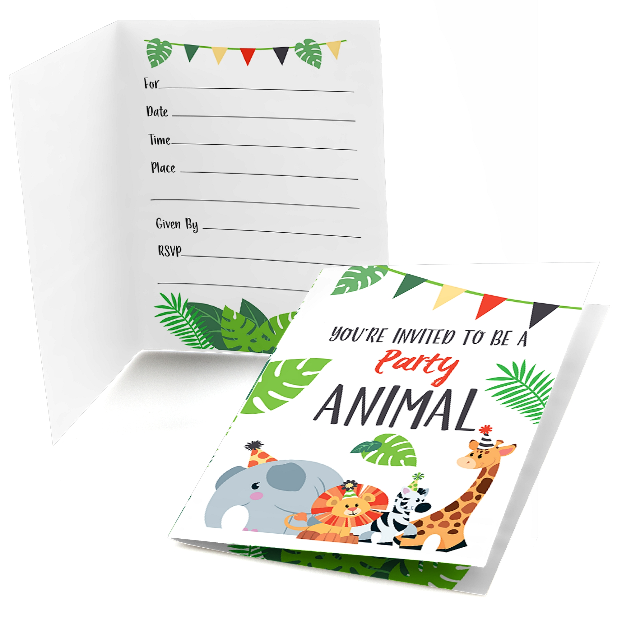 Jungle Party Animals - Fill In Safari Zoo Animal Birthday Party or Baby Shower Invitations (8 count)