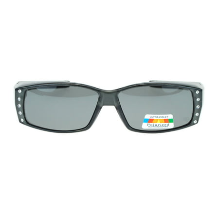 Womens Rhinestone Rectangular Polarized Fit Over Glasses Sunglasses Grey Black