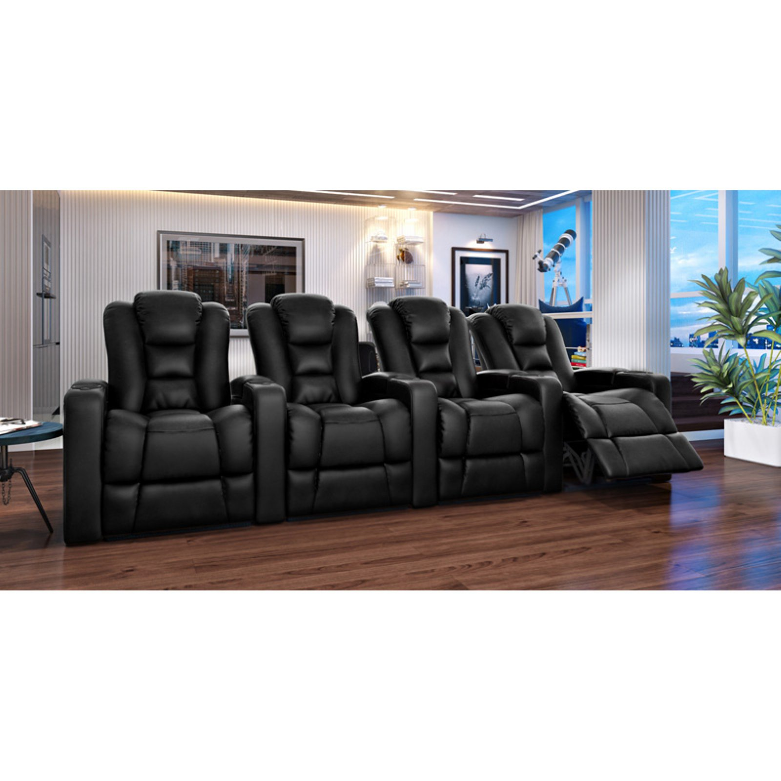 Octane Mega XL950 4 Seater Power Recline Bonded Leather Home Theater Seating