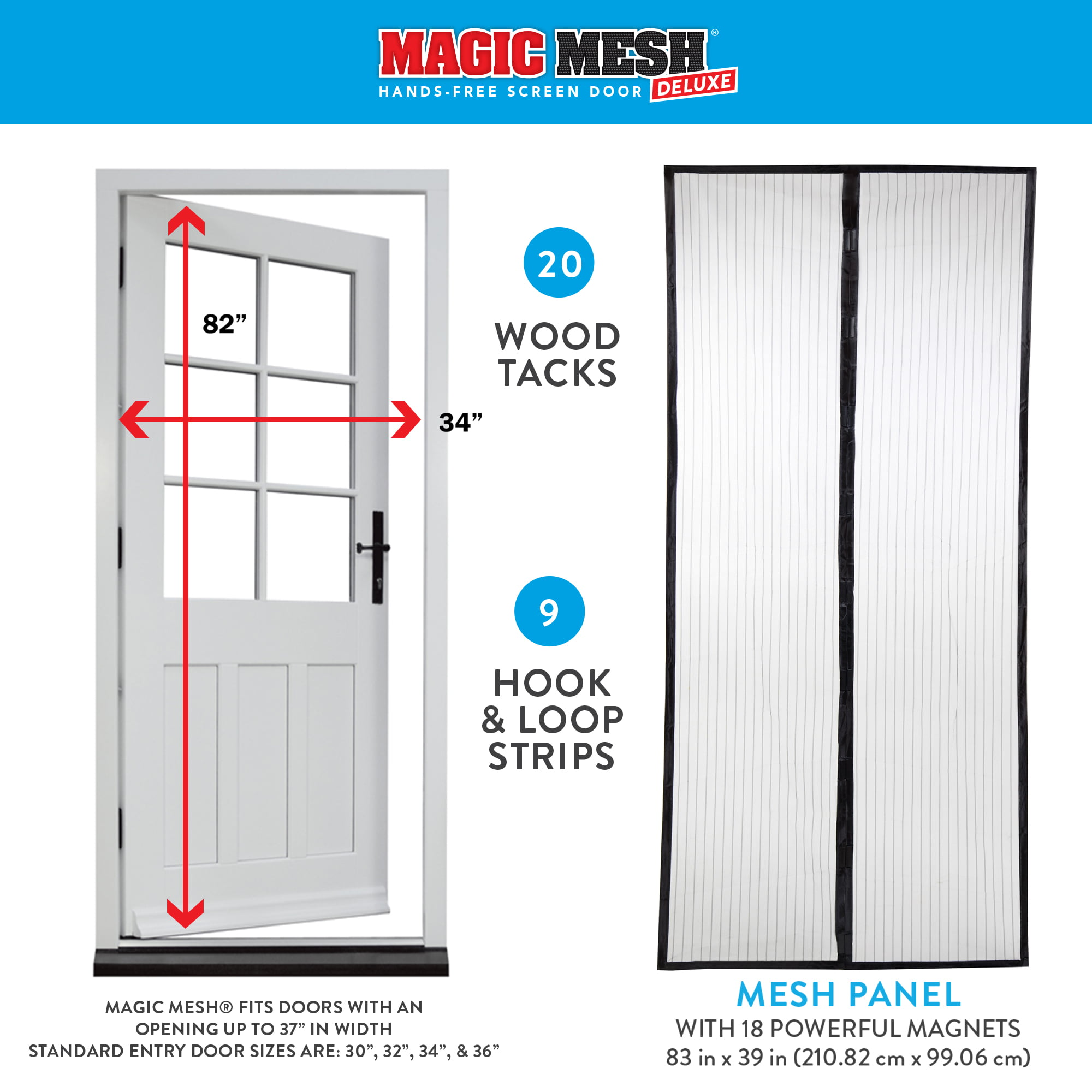 Magic Mesh Deluxe Magnetic Hands Free Screen Door Cover As Seen on TV