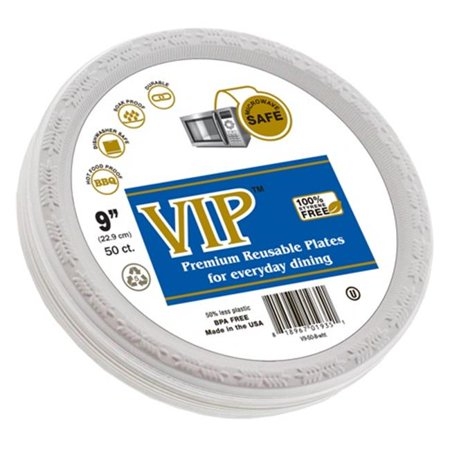 VIP Plates V9-50-8-WHT 9 in  Diameter Plastic & Microwave Safe Disposable  Plates - 50 Per Pack, White