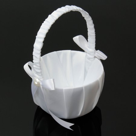 Grtsunsea White Bowknot Pearl Satin Confetti/Candy/Flower Girl Basket For Wedding Banquet Engagement Ceremony (White Flower Girl Basket)