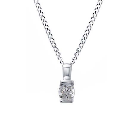 - 1/10 Carat T.W. Natural White Diamond Solitaire Pendant Necklace in 10K Solid White Gold